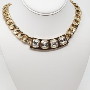 Thick Gold Toned Chain and Rhinestone Necklace